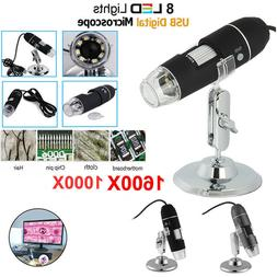 1000X 1600X Digital Microscope 8 LED USB for Computer Tablet