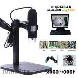 1000X/ 1600X 8 LED USB2.0 Zoom Magnifier Digital Microscope