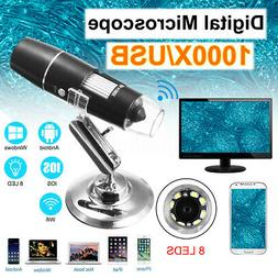 1000X Magnifier WIFI USB 8 Led Digital Microscope Camera for