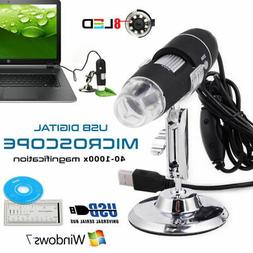1000X USB 8LED Digital Microscope with Stand Holder for Wins