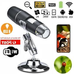 1000X WIFI 8LED Digital Microscope Magnifier Cam for Android