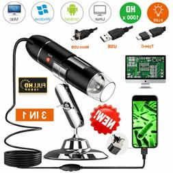 1000x Zoom Microscope 3 in 1 USB Digital Magnifier For Andro