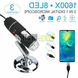1600X Digital Microscope Endoscope with Stand USB 2.0 Magnif
