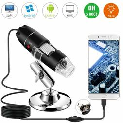 40X-1000X 8 LED Digital Microscope Camera Handheld USB Magni