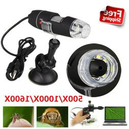 500X 1000X 1600X Digital Microscope 8 LED USB for Mobile Pho