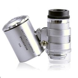 60X Handheld Pocket Microscope Loupe Jeweler Magnifier With