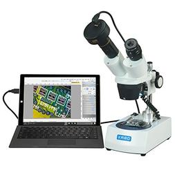 OMAX 10X-30X Stereo Microscope with Dual LED Lights and USB Digital Camera