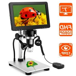 "Handheld 7"" LCD 1080P Digital Microscope 12MP Video Amplific"