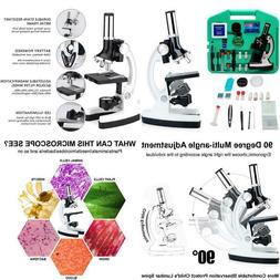 Hisci Microscope Kit For Kids 100X-1200X 52-Pieces Student B