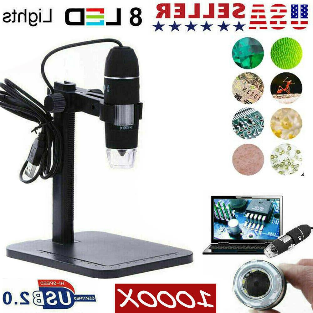 1000X 10MP USB Zoom Digital Microscope Magnifier Camera Video 8LED