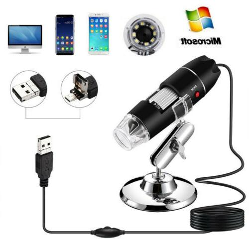1000x 1600x adjustable microscope 8 led magnification
