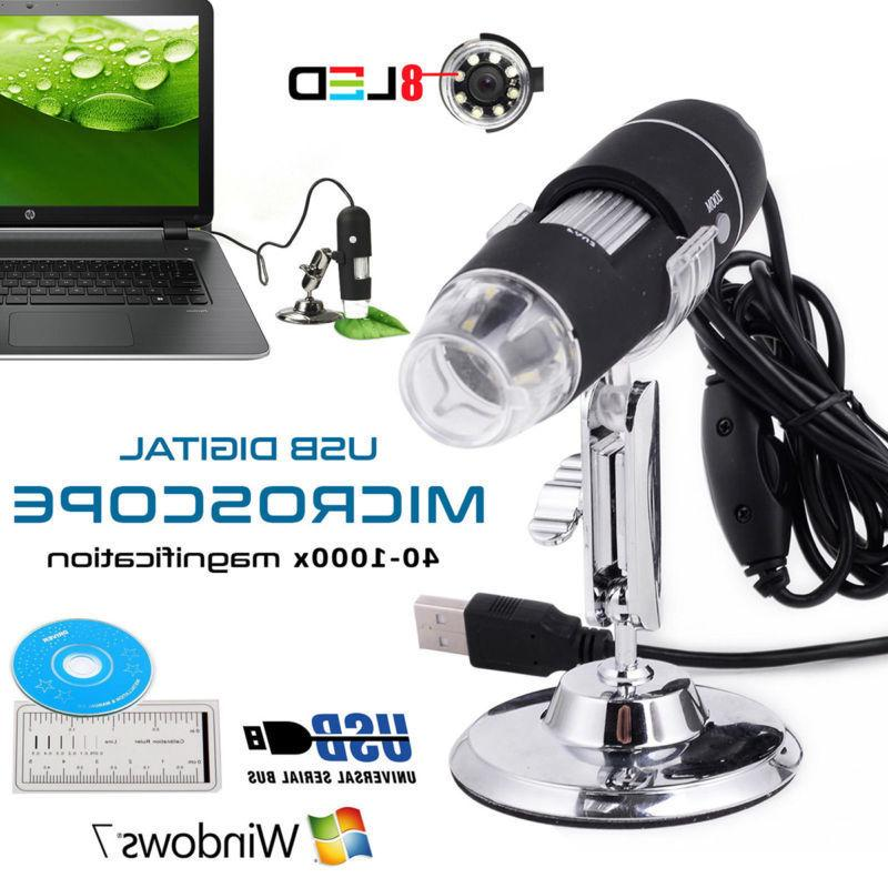 1000X 8LED 2.0 Zoom Magnifier+Stand