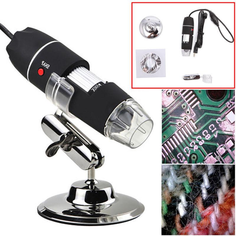 1000X 8LED USB Digital Microscope Endoscope Zoom Camera Magnifier+Stand