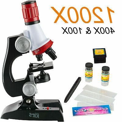 AmScope 10pc Starter Science Compound Microscope Toy Set for