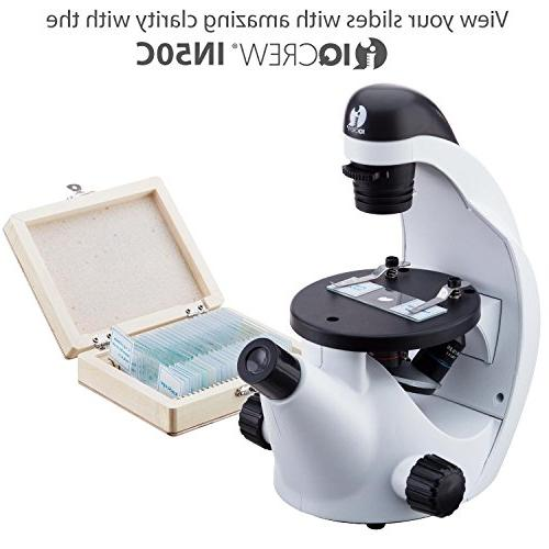 AmScope 25pc Slide Microscope Specimens of and Animal Wooden Case