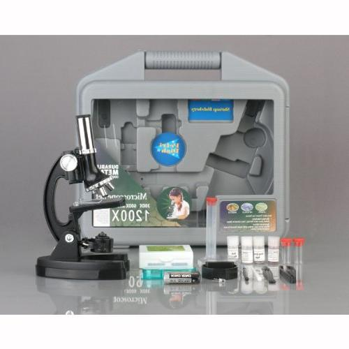 AmScope-KIDS 120X-240X-300X-480X-600X-1200X Frame Beginner Biological Microscope Toy