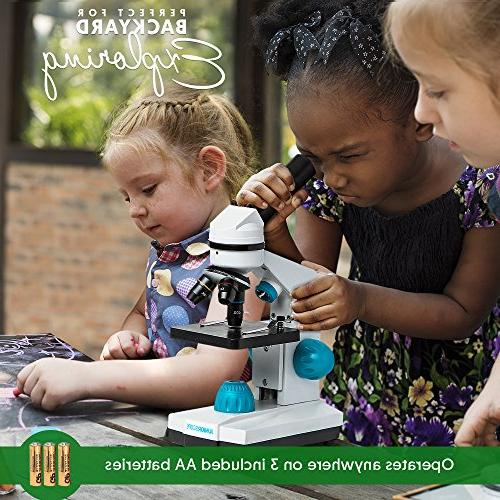 JuniorScope Microscope Kids - 3 - - Includes Experiments & Portable Student Microscope
