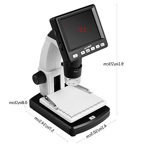 "Koolertron 3.5"" LCD Microscope with 5MP Sensor USB connectable LCD 20-300x Optical Zoom"