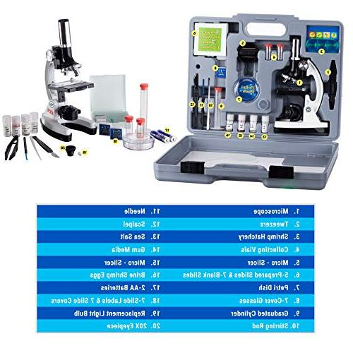 AmScope 1200X Student Beginner Kit with LED Storage World the