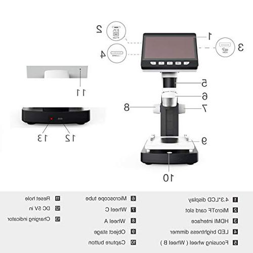 LCD Digital Microscope, 4.3 inch 50X-1000X Zoom 2.0 Compound 8 Adjustable LED 8G SD Card