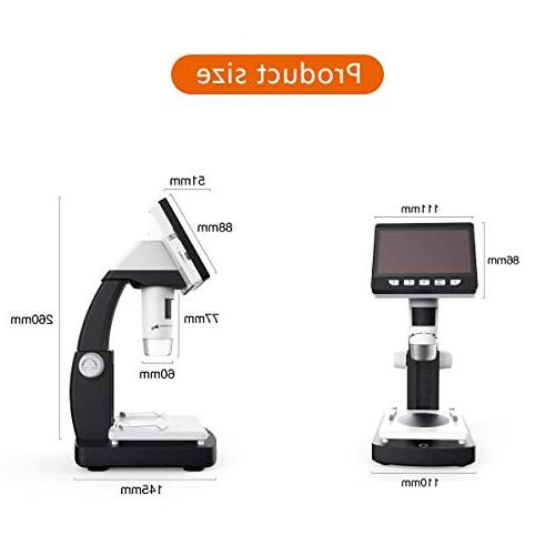 LCD Digital Microscope, 4.3 inch Magnification Zoom Megapixels Compound Rechargeable 8 Adjustable LED Lights 8G SD Card