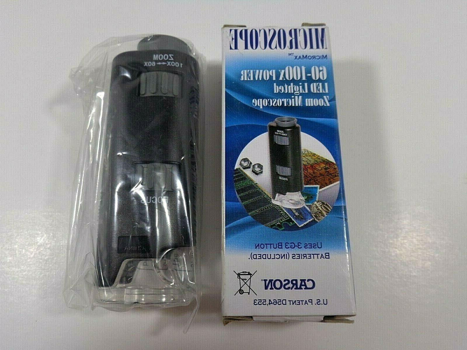 pocket microscope micromax 60x 100x led lighted