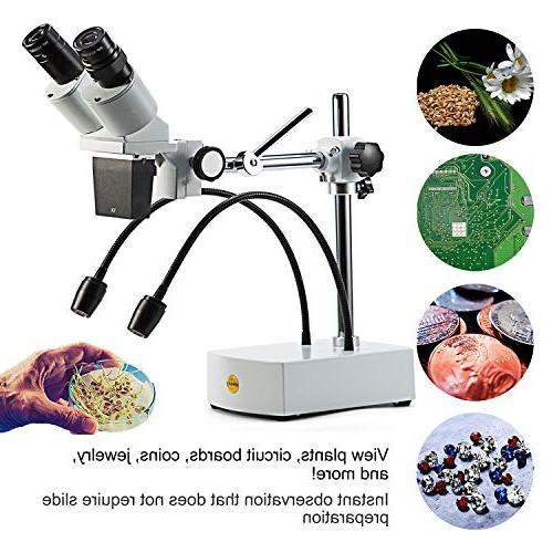 SWIFT Professional Dissecting Binocular Stereo Microscope, WF10x WF20x Eyepieces, Magnification, 1X Objective, Lighting, Boom-Arm