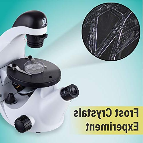 IQCrew STEM Discovery 40X-500X Microscope with Prepared and Blank