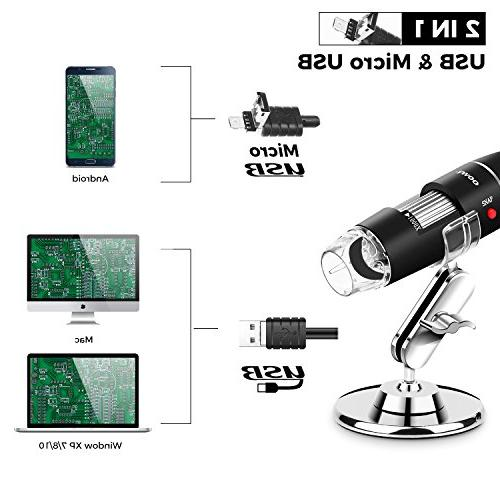 USB 8 USB Digital Microscope, 40 to Endoscope Camera OTG Metal Stand, Compatible with Window 7 Android Linux