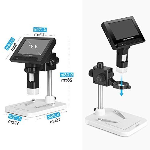 Koolertron Full Color LCD Digital Microscope with Zoom,8 LED Lithium Recorder