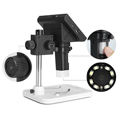 Koolertron Color Microscope with 10X-600X Magnification Zoom,8 LED Adjustable Light,Rechargeable Lithium Battery,Micro-SD Storage,Camera Recorder