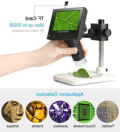 Koolertron 4.3 Full Microscope with Zoom,8 LED Adjustable Light,Rechargeable Lithium Video Recorder