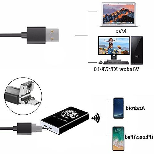 Jiusion Handheld 1000x Endoscope 8 with Phone Suction, Metal with Window