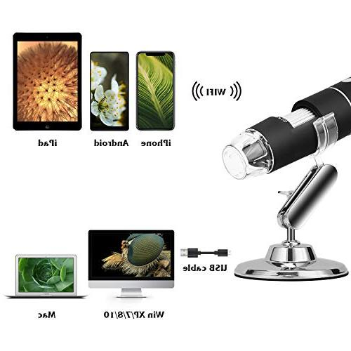 WiFi Microscope, Built in Digital Microscope Camera with 1080P 2MP to Magnification Endoscope for Android, Tablet, Widows, iPad, PC