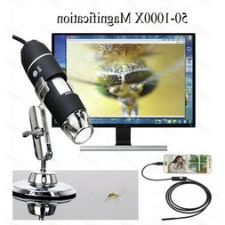Portable USB Digital Microscope 50x-1000x Magnification 8-LE
