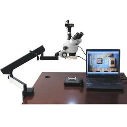 AmScope Articulating Arm Microscope 3.5X-90X LED + USB2 Came