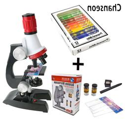 Toy Microscope Kit Lab LED Educational Science Kids Supplies