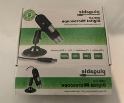 Plugable USB 2.0 Digital Microscope with Flexible Arm Observ